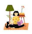 modern flat apartement design girl reading book vector image vector image