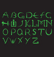 modern green alphabet on a black background vector image vector image