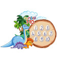 number to ten dinosaur theme vector image