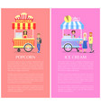 popcorn and ice cream set vector image vector image