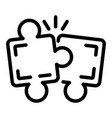 puzzle teamwork icon outline style vector image