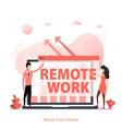 red flat design remote work team vector image vector image