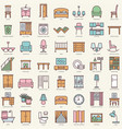 room furniture linear color icons set vector image vector image