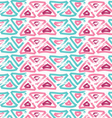 Rough brush pink and green triangles vector image vector image