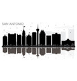 san antonio texas city skyline black and white vector image vector image