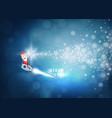 santa claus drive rocket launch and smoke through vector image vector image
