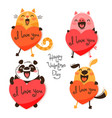 set of cute animals with valentines funny cat vector image vector image