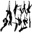 silhouettes set aerialists isolated vector image