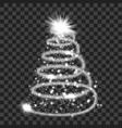 silver particle wave in form of christmas tree vector image
