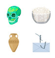 skull bowl of cottage cheese and other web icon vector image vector image