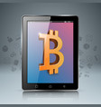 smartphone tablet digital bitcoin icon vector image vector image