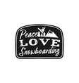 snowboard retro logo with quote - peace love vector image vector image