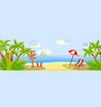 summer beach vacation horizontal banner with vector image