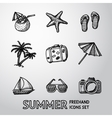 Summer holidays monochrome freehand icons set vector image