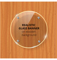 transparent glass plate mock up brown wooden vector image vector image