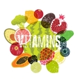 Vitamins Fruit grunge style poster vector image vector image