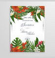 wedding invitation with tropical flowers and vector image