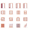 windows and doors set vector image vector image