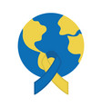 world down syndrome day map and ribbon flat vector image vector image
