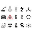 black chemistry icons set vector image