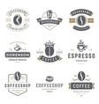 coffee shop logos templates set bean silhouette vector image