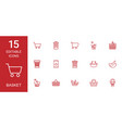15 basket icons vector image vector image