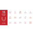 15 store icons vector image vector image