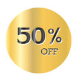 50 off discount price taggold sticker black text vector image vector image