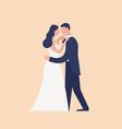 adorable dancing newlyweds isolated on light vector image