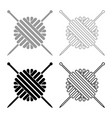 ball of wool yarn and knitting needles icon set vector image