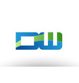 blue green dw d w alphabet letter logo vector image vector image
