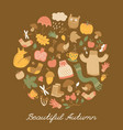 brown autumn round composition vector image vector image