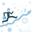 businessman running to success on infographic vector image vector image