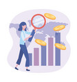 businesswoman with magnifying glass and statistics vector image