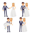 cartoon wedding couple just married vector image vector image