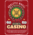 casino poker wheel roulette gambling game vector image vector image