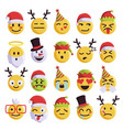 christmas emoji funny and cute holiday set vector image vector image