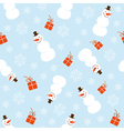 Christmas seamless pattern with snowman vector image vector image