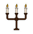 Color image candlestick with base and candles vector image