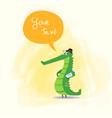 cute cartoon crocodile with newspaper kids design vector image vector image