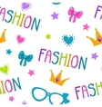 Cute seamless pattern with fashion lettering vector image vector image