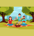 family on picnic in park parents sitting on vector image vector image