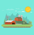 farm flat landscape natural background organic vector image