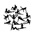 fitness gym silhouettes vector image vector image