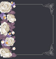 flora card template with white roses and square vector image