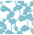 floral seamless pattern with blue line gladiolus vector image