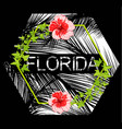 florida flowers poster with black background vector image vector image