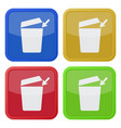 four square color icons trashcan with open lid vector image