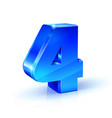 glossy blue four 4 number 3d on vector image vector image