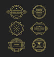 golden line vintage retro badges on black vector image